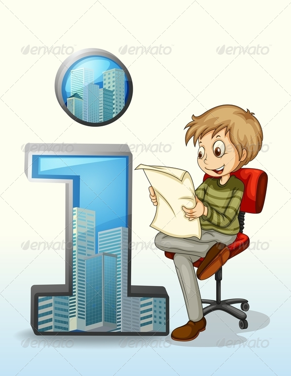 GraphicRiver Man Reading Beside i Information Symbol 8014667