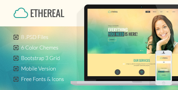ThemeForest Ethereal Multipurpose Onepage PSD Template 8014671