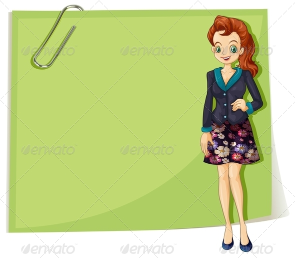 GraphicRiver Young Businesswoman with Empty Note 8014679