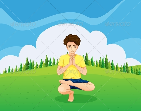 GraphicRiver Young Man doing Yoga in the Park 8014685