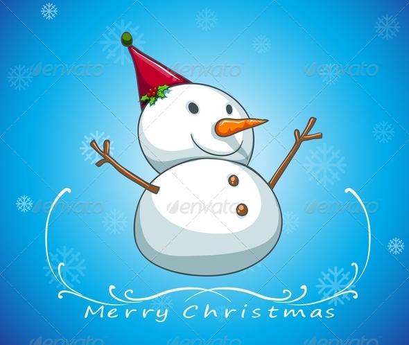Blue Christmas Card with Snowman