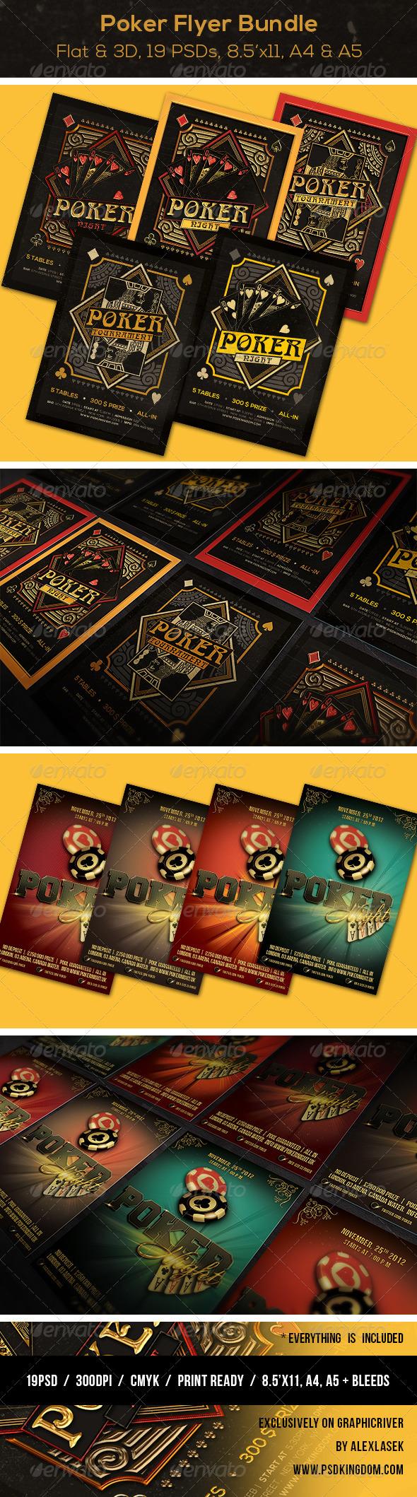 BUNDLE Poker Magazine Ad Poster or Flyer 19 PSDs