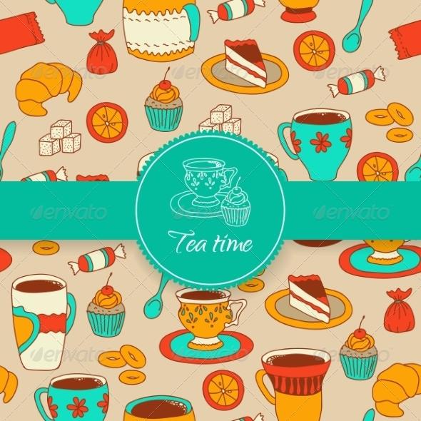 GraphicRiver Concept of Tea Time Sticker Stuff 8015040