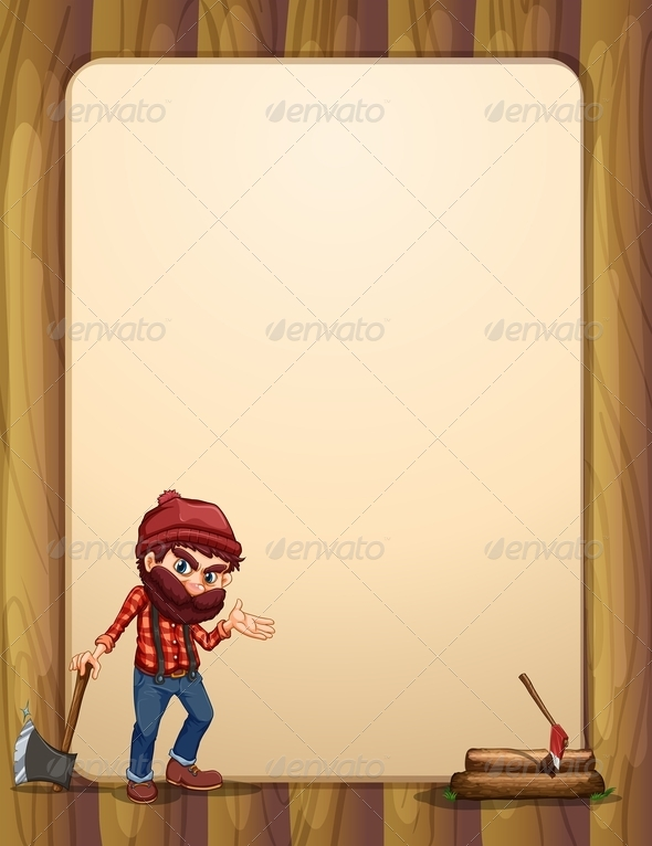 GraphicRiver Empty Wooden Template with Woodsman 8015146