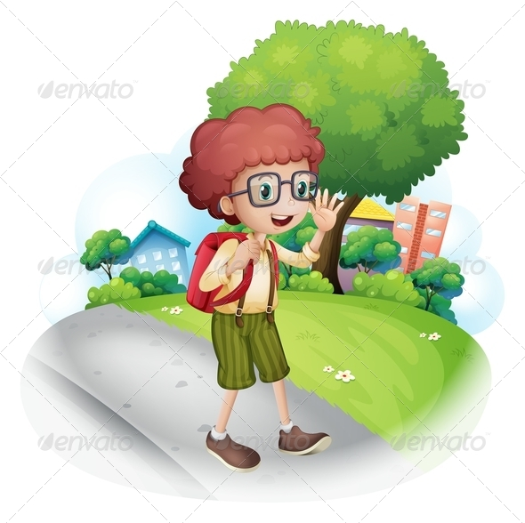 GraphicRiver Boy Walking with Backpack 8015150