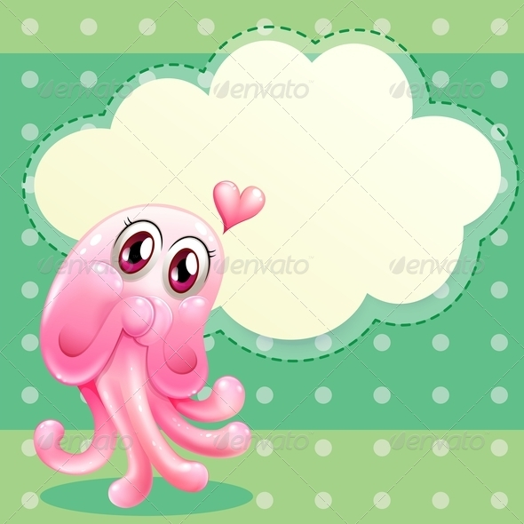 Lovable Monster with Empty Cloud Template