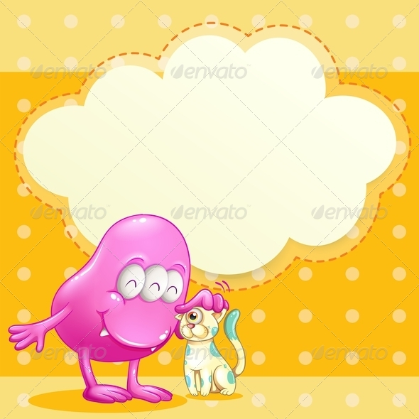 GraphicRiver Monster with Pet and Empty Cloud 8015315