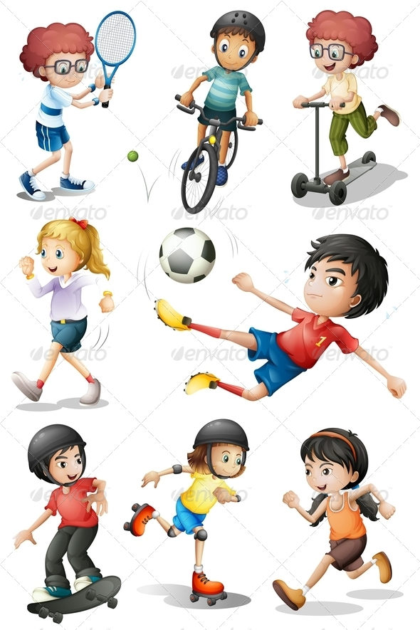 GraphicRiver Set of Kids in Sports Activities 8015382