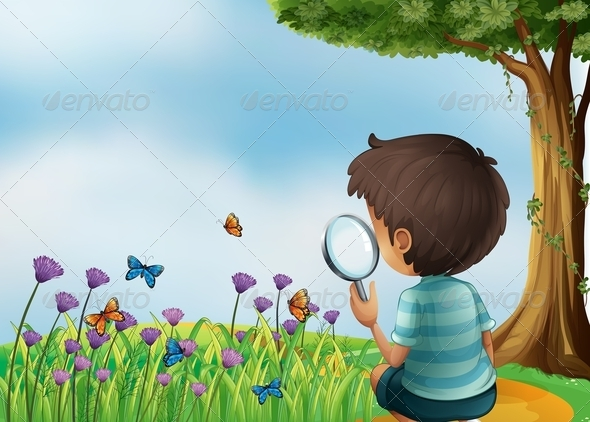 GraphicRiver Boy with Magnifying Glass and Butterflies 8015414
