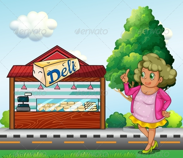 GraphicRiver Lady in Front of Deli 8015478