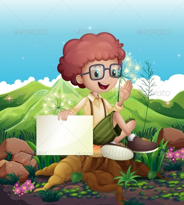 GraphicRiver Boy Sitting on Stump with an Empty Sign 8015577