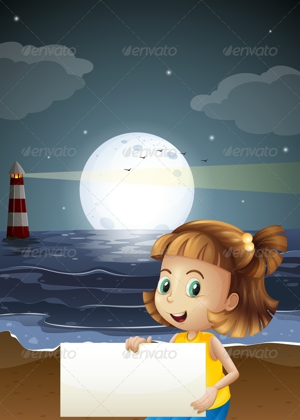 Night Scene with Girl at the Sea