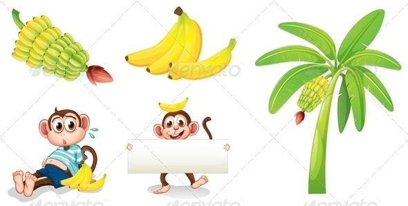 GraphicRiver Banana and Monkey Set 8015945