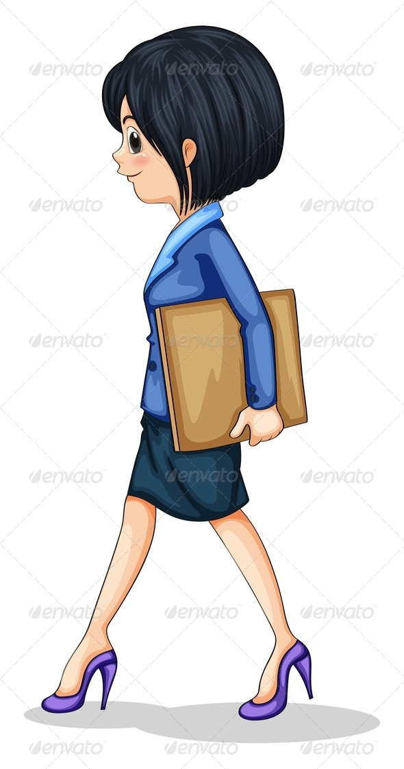 GraphicRiver Businesswoman Walking with Documents 8016083