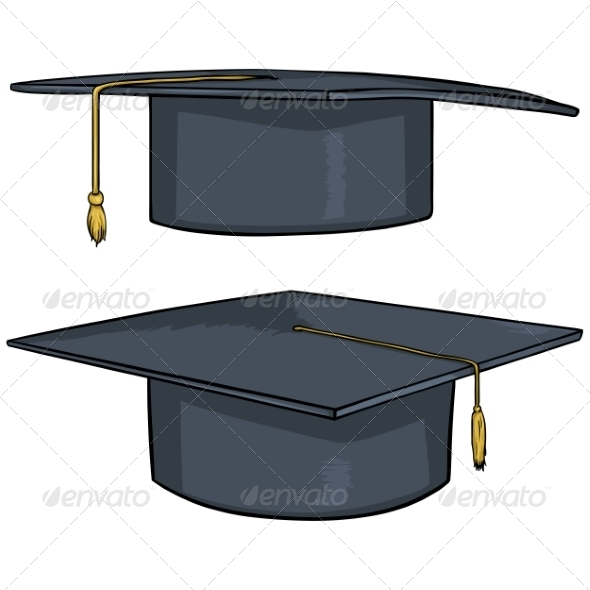 GraphicRiver Two Cartoon Academic Hats 8016163
