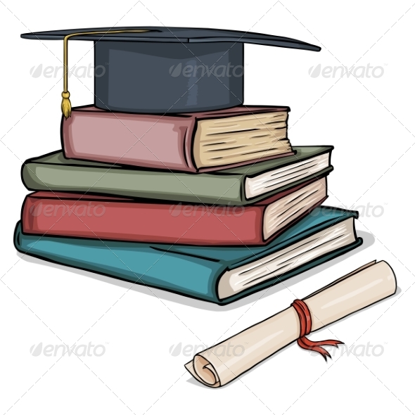 GraphicRiver Cartoon Academic Hat on Stack of Books 8016249