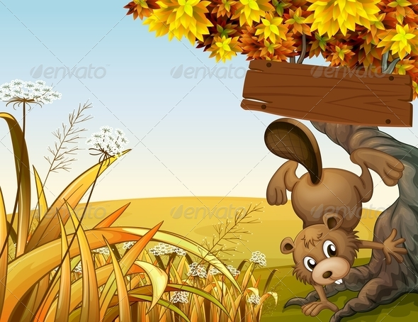 GraphicRiver Beaver Playing Under Empty Sign 8016288