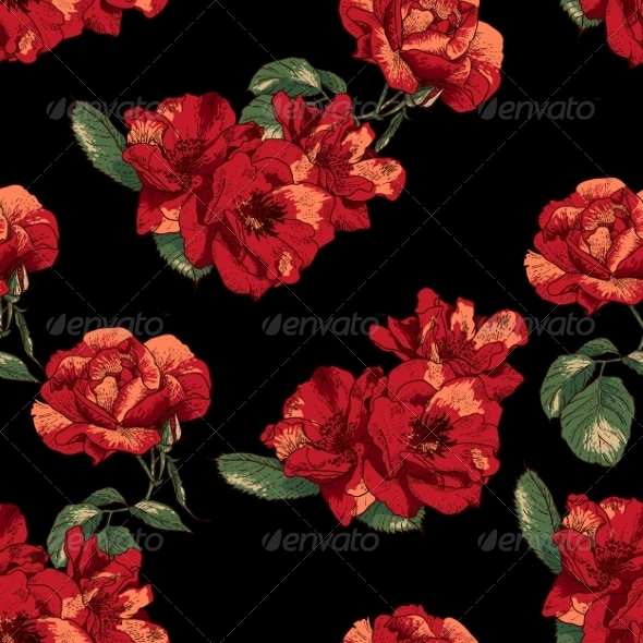 GraphicRiver Seamless Pattern with Vintage Roses 8016299