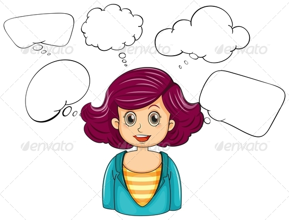 GraphicRiver Smiling Woman with Empty Thought Bubbles 8016309