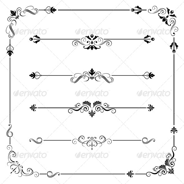 GraphicRiver Vintage Frame Border Dividers and Corners 8016326