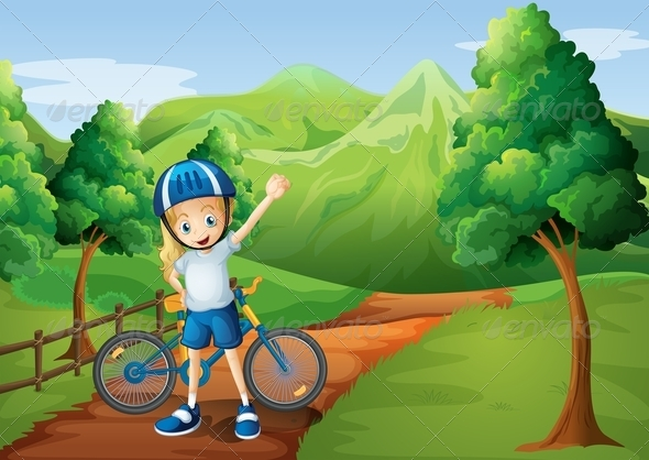 GraphicRiver Girl and Her Bike on the Path 8016431