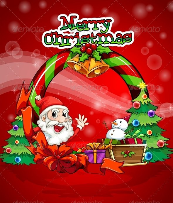 GraphicRiver Colorful Christmas Template with Santa Claus 8016438