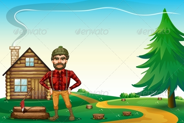 GraphicRiver Lumberjac in Front of Wooden Farmhouse 8016551