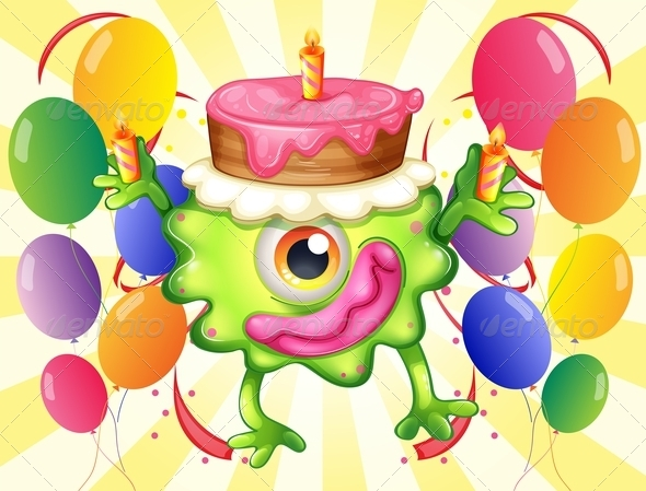 GraphicRiver Birthday Monster and Balloons 8016612