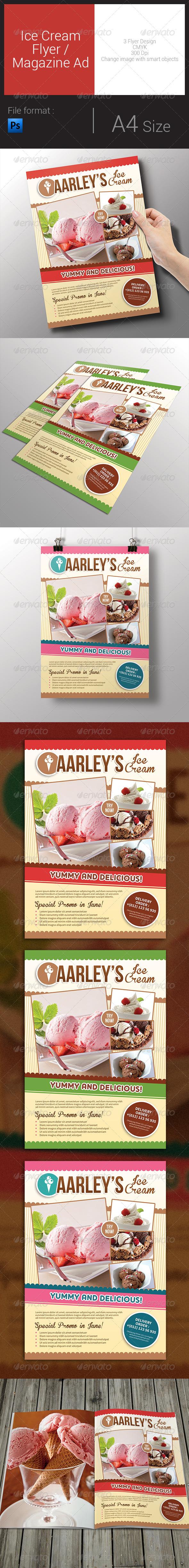 GraphicRiver Ice Cream Flyer Magazine Ad 8016828