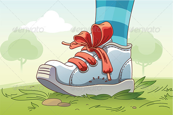 GraphicRiver Small Sneaker on the Grass 8003129