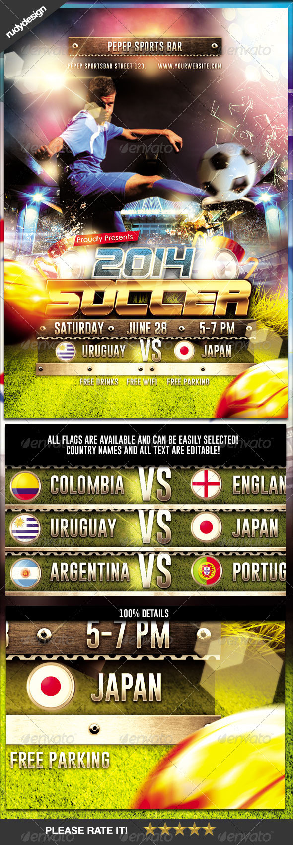 GraphicRiver Brazil Soccer Cup 2014 Football Flyer Template 8017095