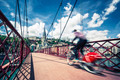 Bike on red footbridge - PhotoDune Item for Sale