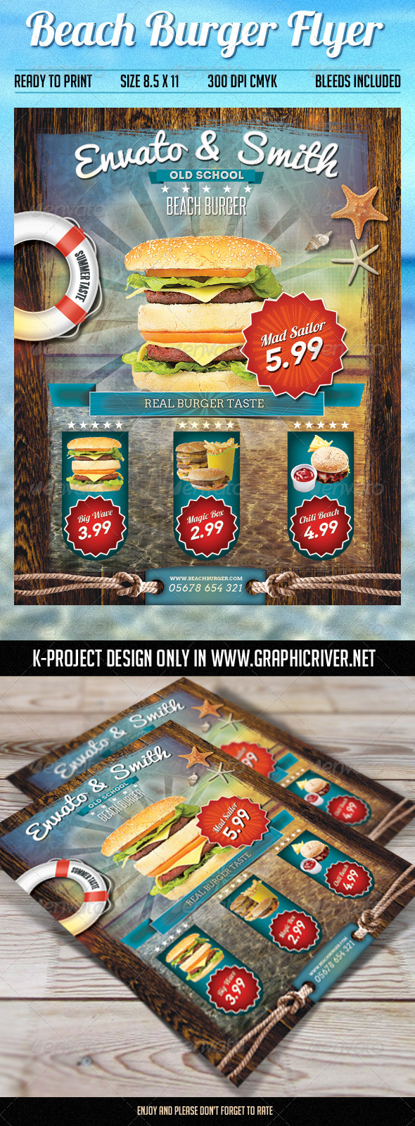 GraphicRiver Beach Burger Flyer 8002182