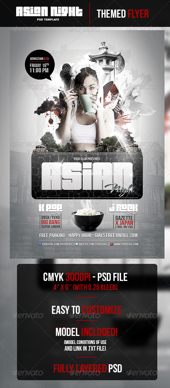 Asian Night Flyer PSD Template - Clubs & Parties Events