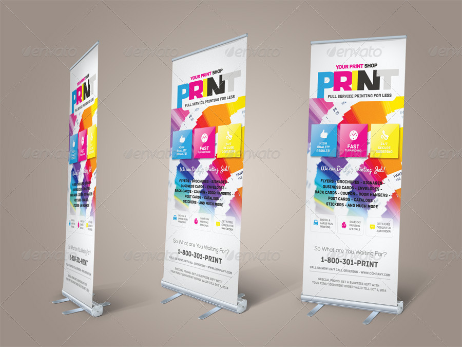 Print Shop Roll-up Banner Templates by kinzishots | GraphicRiver