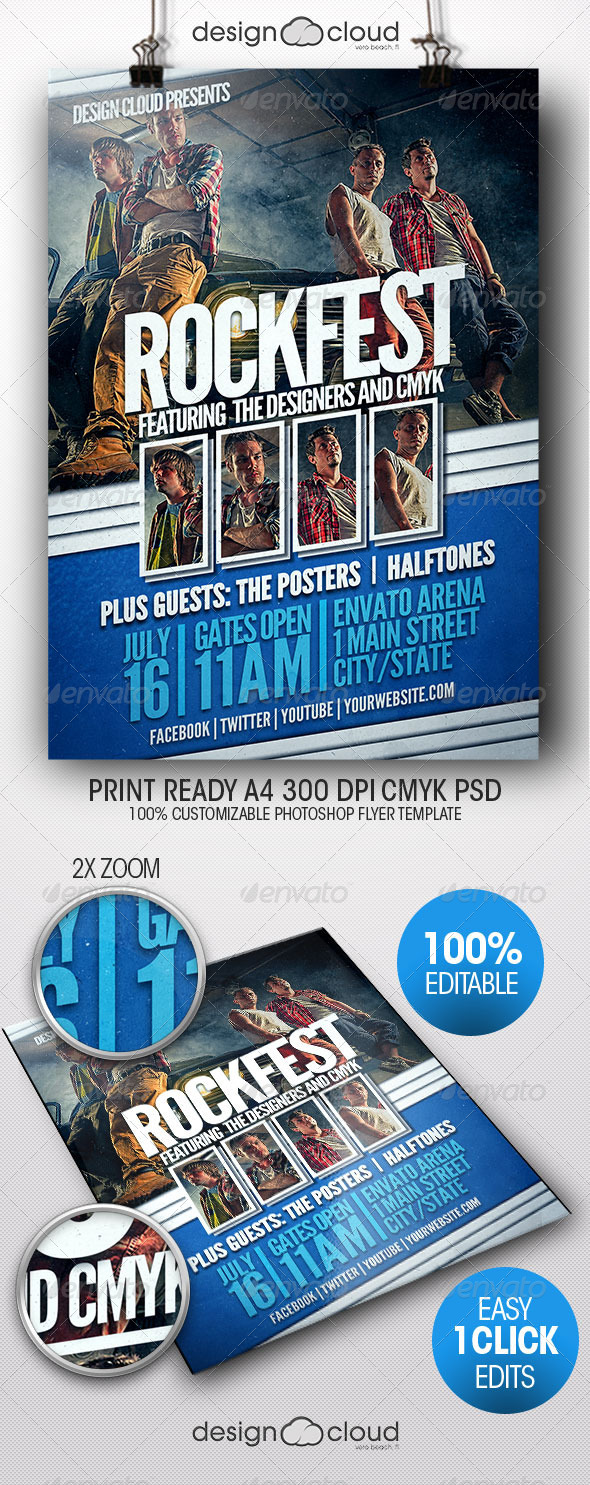 GraphicRiver Rock Fest Grunge Flyer Poster Template 8000919