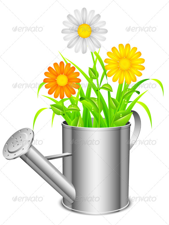 GraphicRiver Watering Can and Flowers 8018362