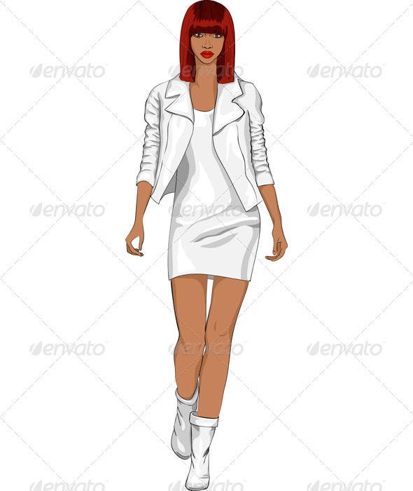 Vector Fashion African Girl In A White Suit - People Characters