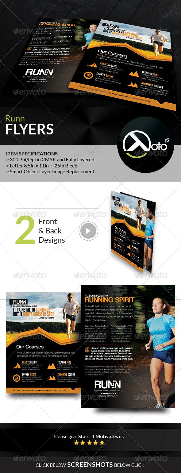 GraphicRiver Runn Marathon Running Club Fitness Flyers 8018736