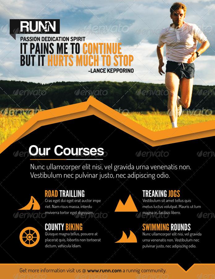 Runn Marathon Running Club Fitness Flyers By Totopc