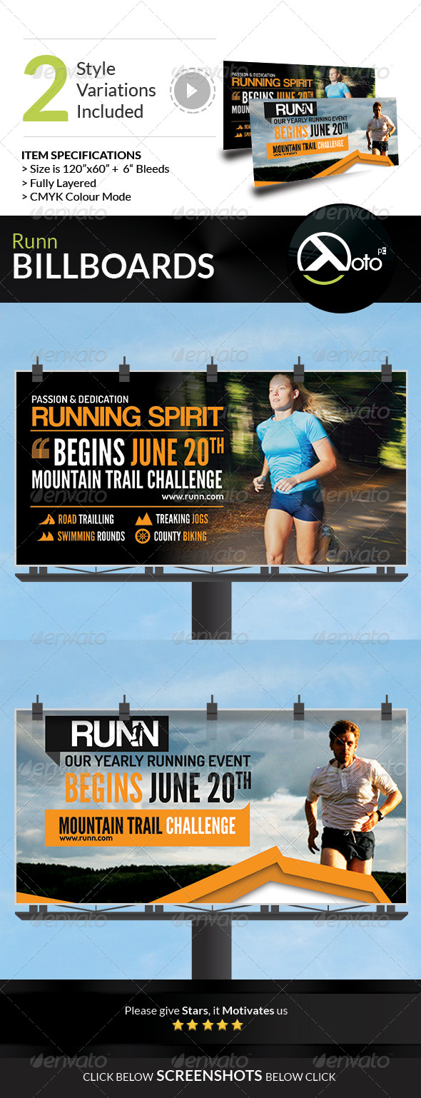 GraphicRiver Runn Marathon Running Club Fitness Billboards 8018793