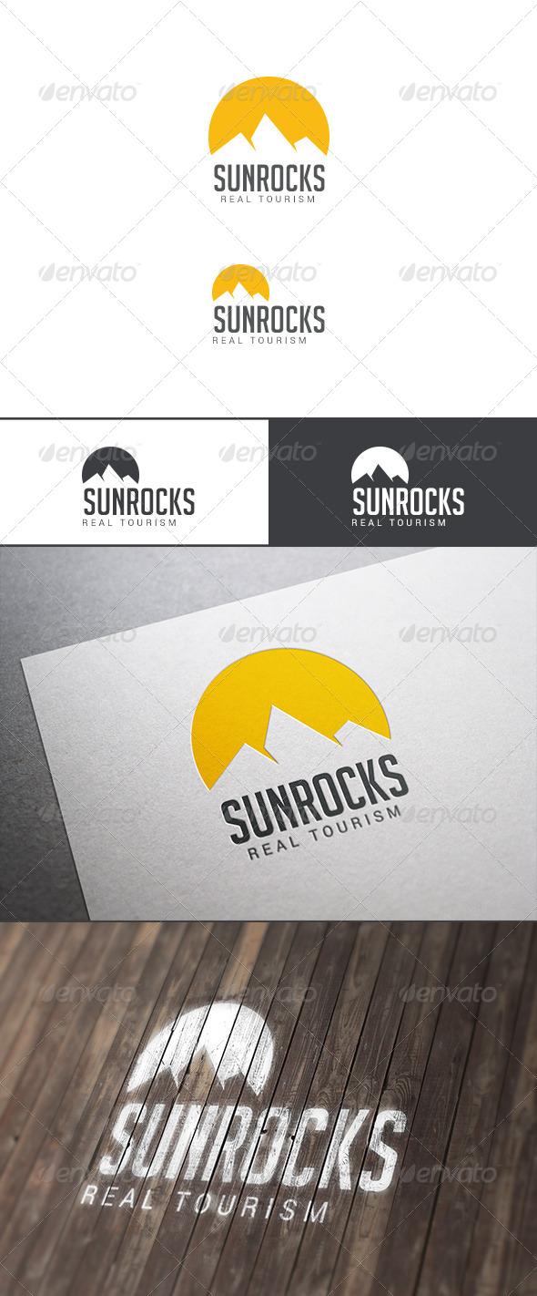 GraphicRiver Travel Tourism Logo Sun Over Rocks 8018809