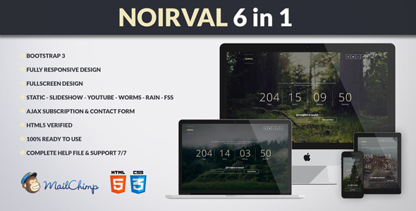 ThemeForest NOIRVAL Classy 6 in 1 Coming Soon 7965093