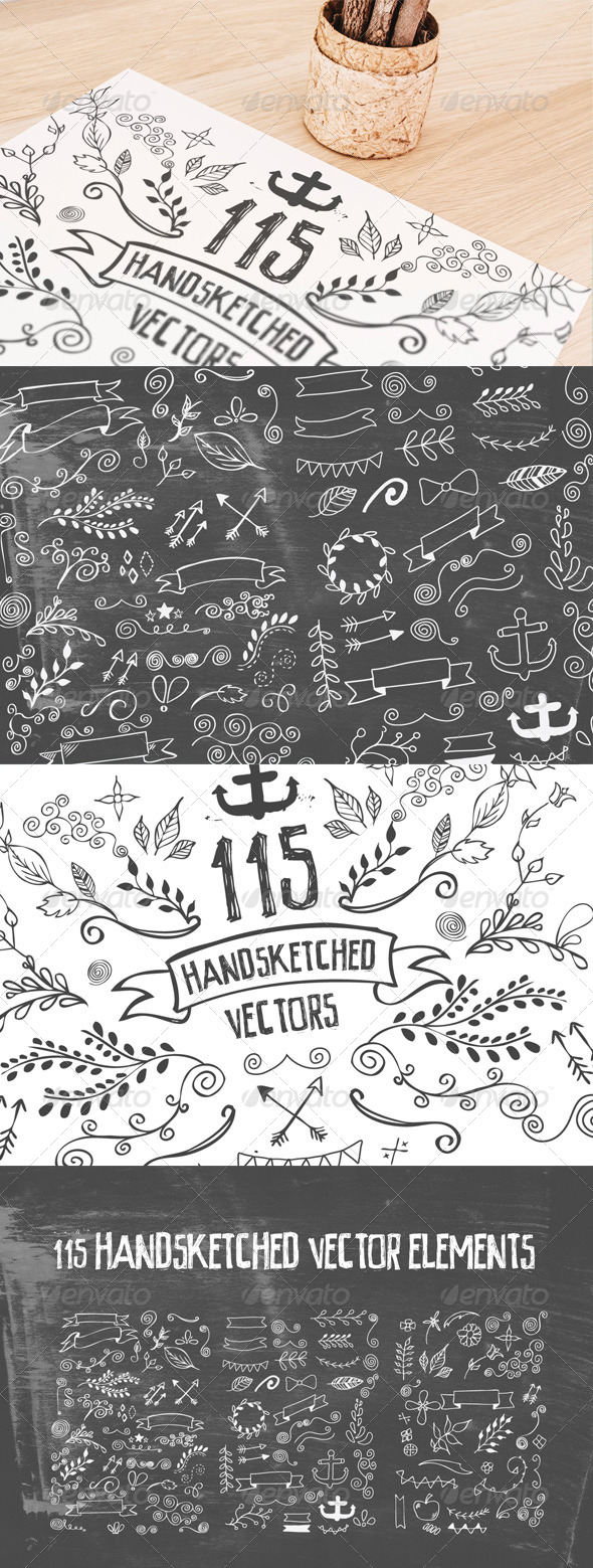 GraphicRiver 115 Handsketched Vector Elements Kit 8012611