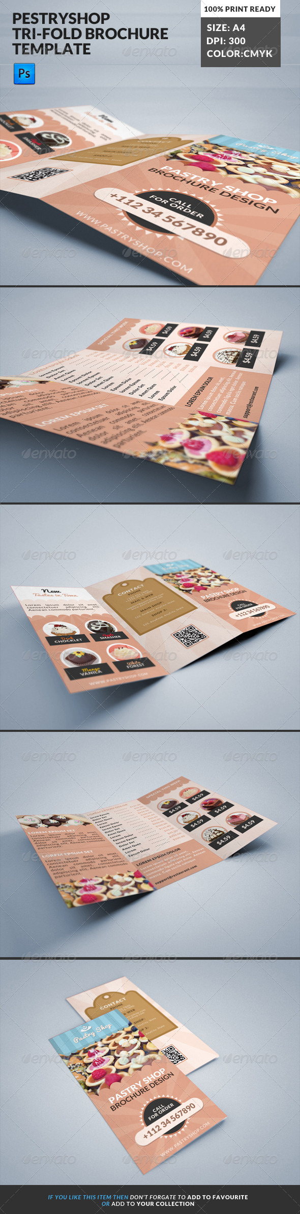 GraphicRiver Pastry Cake Shop Cafe Bakery Tri-Fold Borchure 8019210