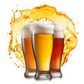 Different beer in glasses with splash isolated - PhotoDune Item for Sale
