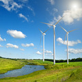 Wind generators turbines on summer landscape - PhotoDune Item for Sale