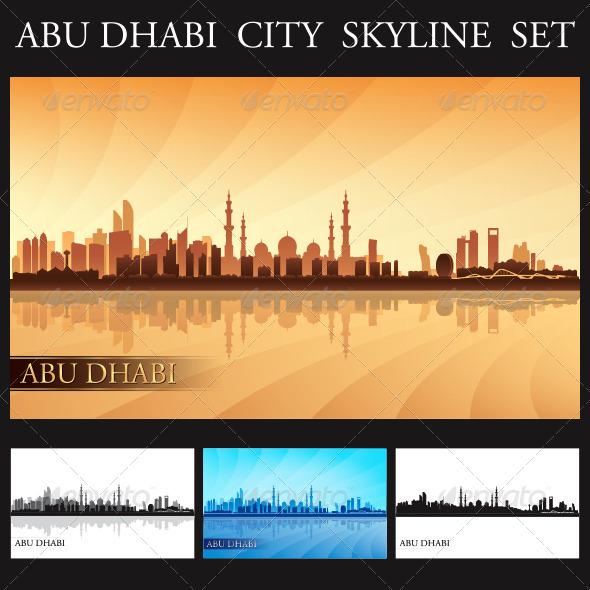 GraphicRiver Abu Dhabi City Skyline Silhouettes Set 8019554
