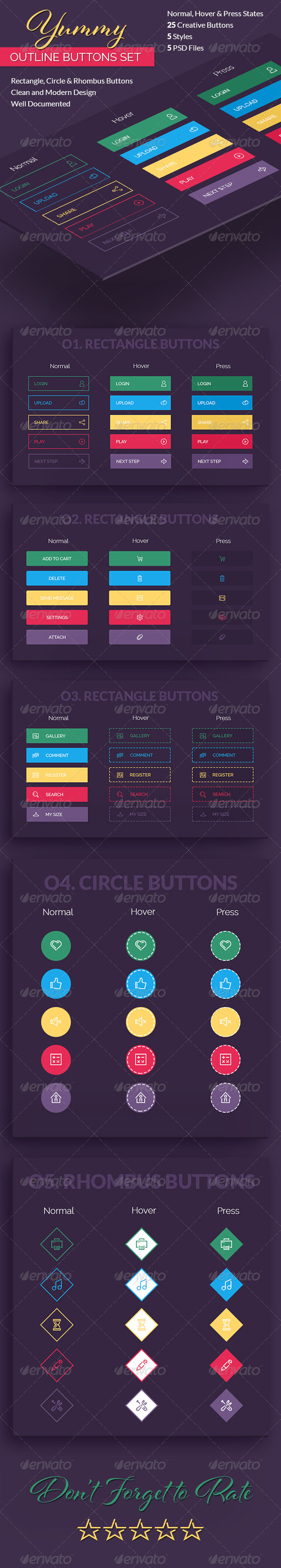 GraphicRiver Yummy Outline Buttons Set 8005053