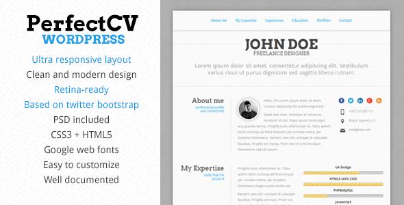PerfectCV - Responsive CV / Resume Theme - Portfolio Creative